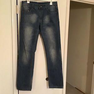 Men's DIESEL Straight Leg Cotton Jeans Lightened